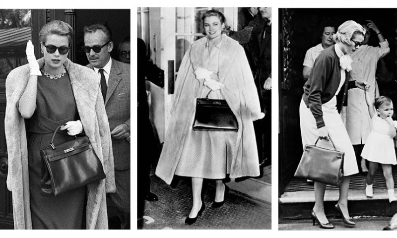 Grace Kelly et Prince Rainier cachant son ventre avec un sac Kelly noir